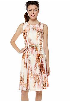 Calvin Klein Printed Flare Dress with Belt