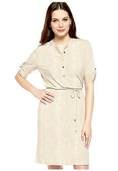 Calvin Klein Elbow Sleeve Henley Shirt Dress