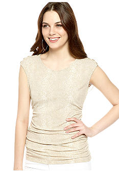 Calvin Klein Ruched Extended Shoulder Tee with Button Embellishment