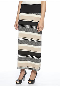Calvin Klein Stripe Maxi Skirt with Folded Wide Band