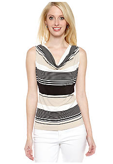 Calvin Klein Stripe Cowl Neck Top