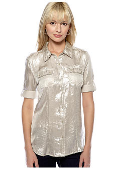 Calvin Klein Roll Sleeve Metallic Blouse