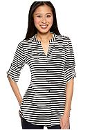 Calvin Klein Stripe Crew Neck Roll Sleeve Blouse