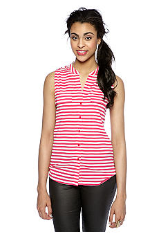 Calvin Klein Striped Sleeveless Button Down Blouse
