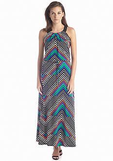 Calvin Klein Striped Maxi Dress with Studs