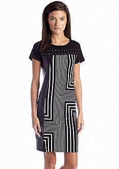 Calvin Klein Mixed Media Block Print Dress