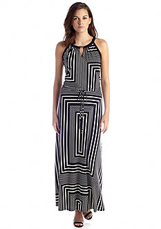 Calvin Klein Printed Keyhole Maxi Dress