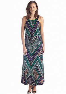 Calvin Klein Printed Maxi Dress with Studs