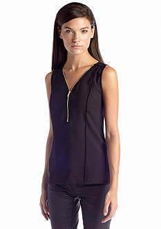 Calvin Klein Half Zip Flanged Tank Top