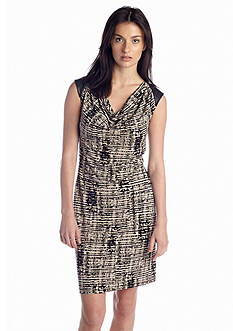 Calvin Klein Sleeveless Drape Neck Printed Dress