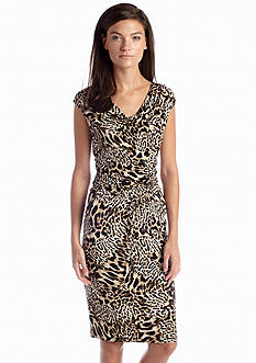 Calvin Klein Animal Print Cowl Neckline Dress