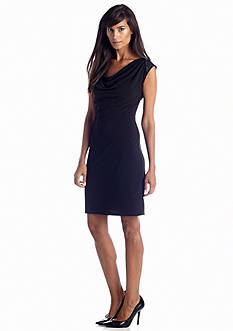 Calvin Klein Sleeveless Drape Neck Solid Dress