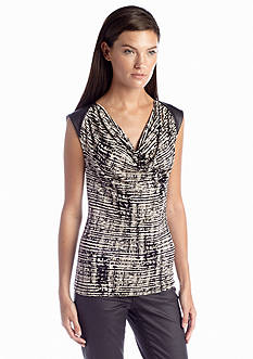 Calvin Klein Faux-Leather Shoulder Printed Cowl Neck Top