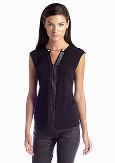 Calvin Klein Sleeveless V-Neckline Chain Top
