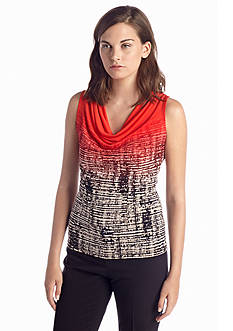 Calvin Klein Windowpane Printed Cowl Neck Top