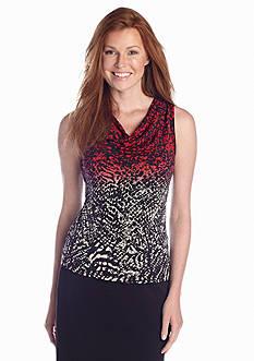 Calvin Klein Sleeveless Printed Cowl Neck Top