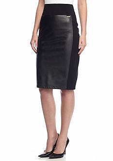 Calvin Klein Ponte Knit and Faux Leather Compression Skirt