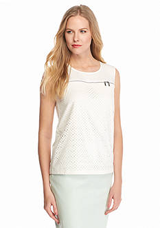 Calvin Klein Eyelet Zip Detail Top