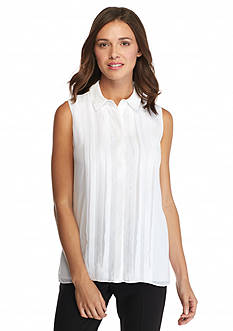 Calvin Klein Solid Pleated Front Blouse