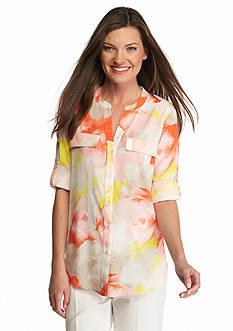 Calvin Klein Floral Roll Tab Sleeve Blouse