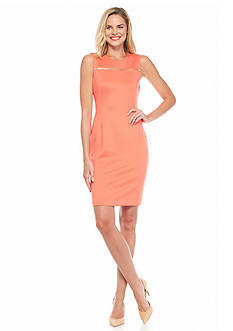 Calvin Klein Solid Zip Yoke Sheath Dress