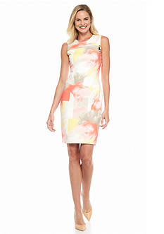Calvin Klein Printed Zip Yoke Scuba Dress