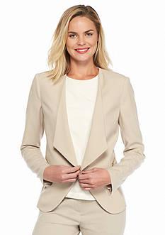 Calvin Klein Long Sleeve Open Front Zip Pocket Jacket