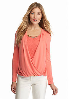 Calvin Klein Lace Shell Wrap Top