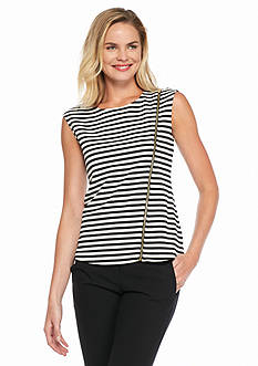 Calvin Klein Striped Asymmetrical Zip Tank