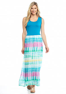 Calvin Klein Chiffon Print Bottom Maxi Dress