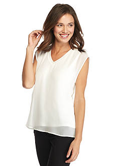 Calvin Klein Solid Chiffon V-Neck Top