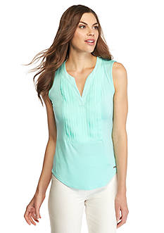 Calvin Klein Sleeveless Pleated Front Top
