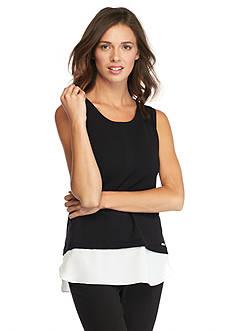 Calvin Klein Sleeveless Solid Mixed Media Sweater