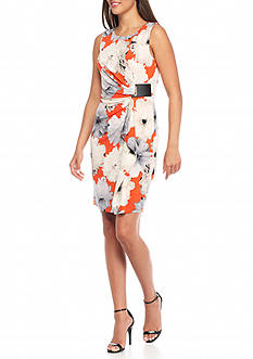 Calvin Klein Floral Ruched Wrap Dress
