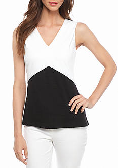 Calvin Klein Textured Colorblock Sleeveless Top