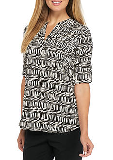 Calvin Klein Printed Crew Rolled Sleeve Blouse