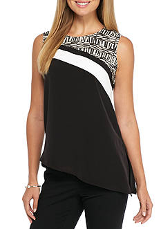 Calvin Klein Sleeveless Asymmetrical Print Top