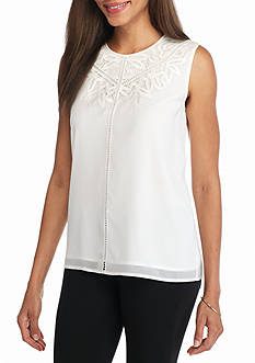 Calvin Klein Chiffon Overlay Lace Cut Out Top