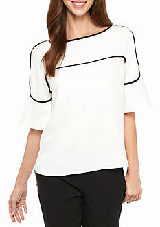 Calvin Klein Bell Sleeve Contrast Piping Blouse