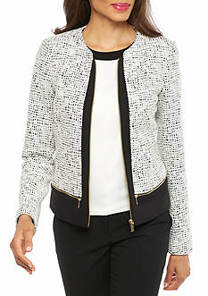 Calvin Klein Textured Mix Media Jacket