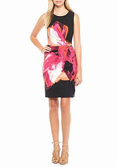 Calvin Klein Sleeveless Printed Faux Wrap Dress
