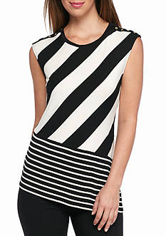 Calvin Klein Mix Stripe Angled Top