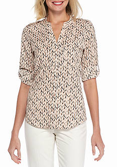 Calvin Klein Printed Rolled Sleeve Pocket Blouse