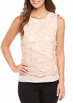 Calvin Klein Sleeveless Feather Mesh Top