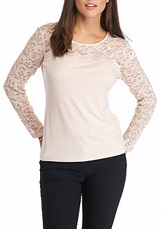 Calvin Klein Long Sleeve All Lace Yoke Top