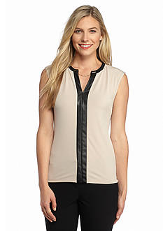 Calvin Klein Faux Leather Trim Sleeveless Top