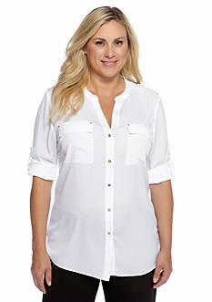 Calvin Klein Plus Size Roll Tab Sleeve Shirt