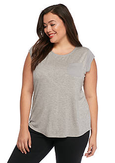 Calvin Klein Plus Size One Pocket Knit Top