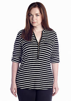 Calvin Klein Plus Size Zip Front Roll Sleeve Knit Top
