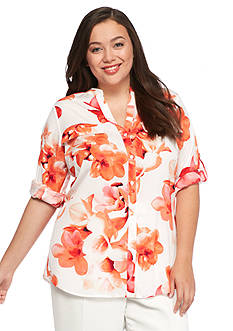 Calvin Klein Plus Size Floral Printed Top